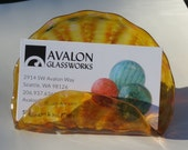 "Amber Business Card Holder, 4"" Hand Blown Glass Desk Accessory in Transparent Amber, Photo Holder, Executive Gift, By Avalon Glassworks"