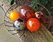 "Reds and Oranges, Set of Five Blown Glass Floats 2.5"" to 4.5"" Decorative Balls, Sturdy Garden Spheres, By Avalon Glassworks"