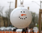 "Snowman Head Ornament, 3.5"" Round Blown Glass Holiday Ornament with Black Glass ""Coal"" Eyes and Orange Carrot Nose, By Avalon Glassworks"