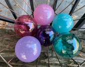 "Pink, Purple, Blue, Transparent and Opaque, Set of Six, 2.75"" Blown Glass Garden Balls, Fishing Floats, Outdoor Décor, Avalon Glassworks"