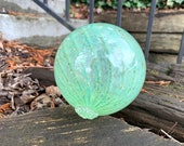 "Jade Green Glass Float, 4.5"" Hand Blown Decorative Garden Ball, Outdoor or Indoor Decor, Coastal Nautical Sphere, Avalon Glassworks"