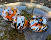 "Koi Pond Floats, Set of Three, 3""-4"" Decorative Blown Glass Balls, Orange, White, Black, Outdoor Floating Garden Spheres, Avalon Glassworks"