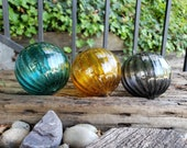 "Amber, Aqua, And Smoke, Set of Three, 3.5"" Decorative Glass Pond Floats, Modern Blown Glass Garden Balls, by Avalon Glassworks"