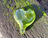 "Lime Green Glass Heart, Solid Heart-Shaped 3"" Paperweight Sculpture, Chartreuse Green, Appreciation Gift, By Avalon Glassworks"
