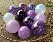 Purple Glass Floats, Set of 12 Small Decorative Hand Blown Balls, Lavender Amethyst White Orbs Outdoor Garden Art Spheres, Avalon Glassworks