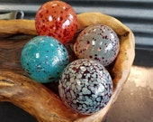 "Speckled Floats, Set of Four, 2.5""-3.5"" Decorative Glass Pond Floats, Blown Glass Garden Balls with Colorful Spots by Avalon Glassworks"