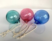 "Blown Glass Fishing Float Ornaments, Set of Three 3"" Decorative Hanging Balls, Nautical Outdoor Holiday Decor Sun Catchers Avalon Glassworks"