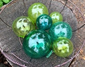 "The Greens, Set of 7 Glass Floats, 2.5""-4"" Hand Blown Glass Balls in Transparent Shades of Green, Lime, Emerald, Olive, By Avalon Glassworks"