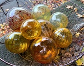 "The Ambers, Glass Floats, Set of Eight 2.5""-4.5"" Garden Balls, Floating Spheres, Gold, Amber, Red Flecks, Orange, Copper, Avalon Glassworks"