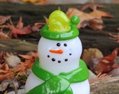 "Glass Snowman with Two-Toned Green Hat and Green Scarf, 6"" Blown Glass Decorative Sculpture"