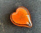 "Orange Glass Heart, Solid Heart-Shaped 3"" Paperweight Sculpture, Valentine's Day, Appreciation, Anniversary, Love Gift, Avalon Glassworks"