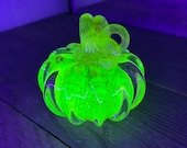Uranium Glass Pumpkin Paperweight, Glows in Black Light, Hand Made Bright Yellow Vaseline Glass Sculpture, UV Reactive, By Avalon Glassworks