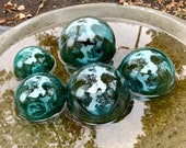 "Blue Green Glass Floats, Set of Five, 3""-4.5"" Garden Balls, Nautical Home Décor, Vintage Fishing Float Color, Hand Blown, Avalon Glassworks"