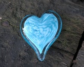 "Light Blue with White Clouds Glass Heart, Solid Heart-Shaped 3.5"" Paperweight Sculpture, Appreciation Gift By Avalon Glassworks"