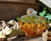 "Touch-of-Green Pumpkin, Blown Glass Two-Tone 4.5"" Pumpkin with Gold Ribs and Stem of Twisted Glass, By Avalon Glassworks"
