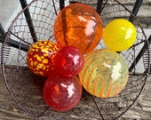 "The Hot Set, Blown Glass Floats, Group of Six 2.5""-4.5"" Warm Tones, Red, Orange, Yellow Garden Balls, Floating Spheres By Avalon Glassworks"