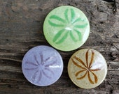 "Trio of Sand Dollars, Solid Glass 3.5"" Paperweights, in Green, Lavender & Natural, Wedding Favor, Sea Shell Sculpture, By Avalon Glassworks"