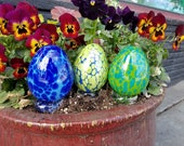 "Easter Eggs, Set of Three 3.5"" Blown Glass Egg Sculptures in Greens and Blues, Home, Mantel or Table Décor, By Avalon Glassworks"