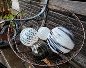 "White and Black Floats, Set of four 2.5""-4.5"" Decorative Hand Blown Glass Balls, Home and Garden Décor, Pond Floats, By Avalon Glassworks"