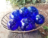 "Cobalt Glass Floats, Set of Six Nautical Hand Blown Spheres, Decorative Indoors or Outdoors, 2.5""-4"" Pond Floats, By Avalon Glassworks"
