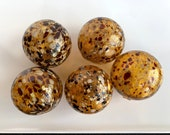 "Amber Speckles, Set of Five 2.75"" Hand Blown Glass Decorative Balls, Pond Floats, Outdoor Garden Balls, Autumn Earth Tone, Avalon Glassworks"