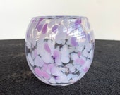 "Purple & Lavender Blown Glass Cup, Spot Pattern on Clear, Small Barrel Shape Drinking Glass, Holder, Vase, 3.25"" Glassware Avalon Glassworks"