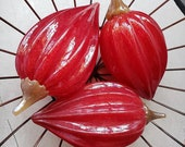 "Glass Cocoa Pods, Set of Three Deep Red, 6"" - 7"" Long, Hand Blown Glass Decorative Gourds, Each with Golden Brown Stem, By Avalon Glassworks"