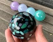 Purple Turquoise Blue Black, Set of Five Small Hand Blown Glass Garden Balls Fishing Floats Interior Design Outdoor Decor, Avalon Glassworks