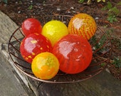 "Red and Yellow Striped, Set of Six 2.5""-5"" Glass Floats, Decorative, Nautical Blown Glass Balls For Home or Garden, by Avalon Glassworks"
