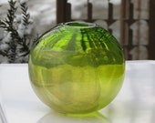 "Green Sphere Vase with Silver Leaf Overlay, 5"" Blown Glass Transparent Lime Green Vase, Modern Design, By Avalon Glassworks"