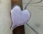 "Pale Purple and Pink Heart, Solid Heart-Shape 3"" Paperweight Sculpture, Appreciation Gift, By Avalon Glassworks"