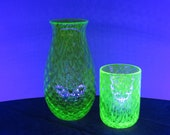 Uranium Glass Decanter and Tumbler Set, Glows in Black Light, Hand Blown Vaseline Glass Cup and Vase, Bright Green, by Avalon Glassworks