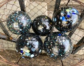 "Black Cosmic Mega Mix Speckles, Set of Five Floats 2.75"" Decorative Blown Glass Balls, Garden Art Decor End of Day Colors, Avalon Glassworks"