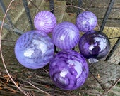 "It's a Purple Thing, Set of Six Floats, 2.5""-4.5"" Blown Glass Balls, Transparent and Opaque Shades of Purple, Garden Art, Avalon Glassworks"