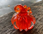 "Little Orange Glass Pumpkin, 3"" Decorative Squash Sculpture with Curly Stem, Solid Sculpted Paperweight, Autumn Decor, By Avalon Glassworks"
