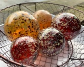 "Red and Golden Cream Floats, Set of Five, 2.5"" - 4.5"" Blown Glass Spheres, Decorative Floats for Outdoors or Indoors, By Avalon Glassworks"