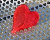 """Cherry Red Glass Heart, Solid Heart-Shape 3"""" Paperweight Sculpture, Appreciation Gift, By Avalon Glassworks"""