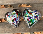 "Multi Color Spotted Glass Hearts, Set of Two, Solid Heart-Shaped 3"" Paperweights, Sculpture, Rainbow Colors, Anniversary, Avalon Glassworks"