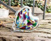 "Multi Color on White Spotted Glass Heart, Solid Heart-Shaped 3"" Paperweight Sculpture, Rainbow Heart, Romantic Gift, By Avalon Glassworks"