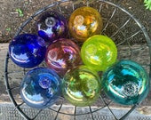 "Prismatic Floats, Set of Eight, 4.5"" Blown Glass Balls, Rainbow Colors, Decorative Floating Spheres, Outdoor or Indoor Art Avalon Glassworks"