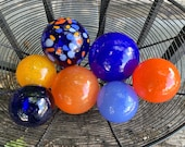 Blue and Orange Nautical Glass Floats, Set of 7 Decorative Hand Blown Spheres, Interior Design Balls Garden Art Orbs Decor Avalon Glassworks