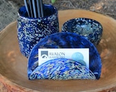 Blue Blown Glass Desk Accessory Set, 3-Pieces Includes Card, Clip, and Pen Cup in Dark Blue with Beige & Blue Spots, By Avalon Glassworks