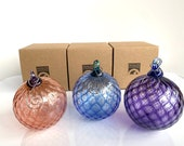 "Individually Boxed Blown Glass Ornaments, Set of Three, Diamond Facet 3"" Hanging Holiday Decorations, Blue, Pink, Purple, Avalon Glassworks"