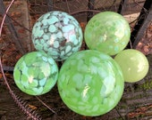 "The Greens, Set of Five Blown Glass Floats, 2.5""-4.75"" Decorative Balls, Shades of Light Green, Celadon, Turquoise Blue, Avalon Glassworks"