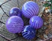 "Purple Stripe Floats, Set of Five Blown Glass 2.5""-4.5"" Balls, Garden Decor, Transparent and Opaque Shades of Purple, By Avalon Glassworks"