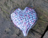 "Multi Colored Heart, Solid 3"" Paperweight Sculpture,  with Aqua, Pink, Purple and White Speckles, Appreciation Gift, By Avalon Glassworks"