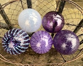 "Light & Dark Purple Floats, Set of Five 2.75"" Hand Blown Glass Spheres Nautical Decorative Balls Home or Garden Art Decor, Avalon Glassworks"