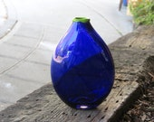 "Cobalt Blue Flat Vase with Green Lip Wrap, 7"" Tall Dark Transparent Blown Glass Blue Bottle Shape Art Glass By Avalon Glassworks"