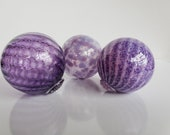 "Trois Violette, Set of Three Blown Glass Floats, 3.5"" Decorative Purple Balls, Outdoor Floating Garden Spheres, by Avalon Glassworks"