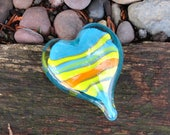 "Colorful Striped Aqua Glass Heart with Yellow & Orange, Solid Heart-Shaped 3"" Paperweight Sculpture, Appreciation Gift By Avalon Glassworks"